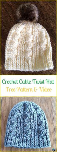 Crochet Cable Twist HatFree Pattern & Video - Crochet Cable Hat Free Patterns