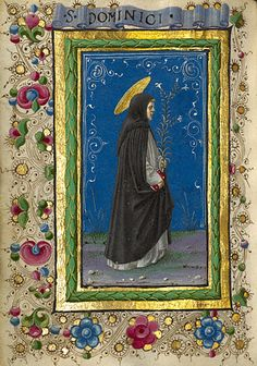 Gualenghi-d'Este Hours  Saint Dominic  	      Taddeo Crivelli  Italian, Ferrara, about 1469  Tempera colors, gold paint, gold leaf, and ink on parchment    4 1/4 x 3 1/8 in.  MS. LUDWIG IX 13, FOL. 188V