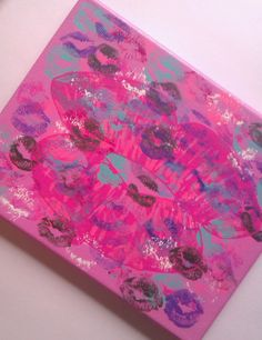 Lipstick kisses acrylic canvas painting for girls by StarrJoy16, $20.00