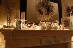 Winter Mantel... glittery pinecones, snowflakes