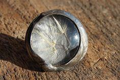 Anneau de Terrarium, bijoux botanique, anneau réglable, des bois, pissenlit véritable séché, anneau de pissenlit,