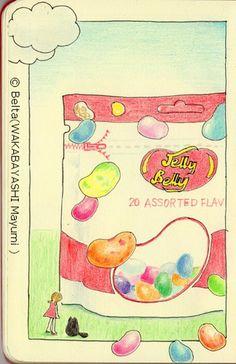 2013_08_23_jrllybelly_01_s we found big jelly belly!  for this drawing I used: Pigma Faber castell polychromos Karismacolor Moleskine sketchbook  © Belta(WAKABAYASHI Mayumi )