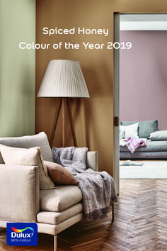 Introducing Colour Of The Year 2019 Spiced Honey, a warm amber tone that is truly versatile and contemporary. #LivingRoom #LivingRoomDecor