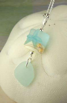 Genuine Aqua Sea Glass Necklace With Starfish Lampwork Bead