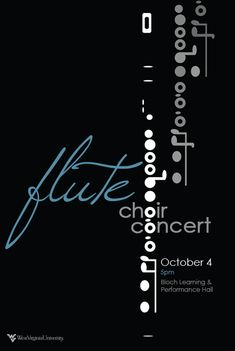 Flute Choir Concert Poster by Laura Johnson via Behance Graphic Artwork, Graphic Design Typography, Graphic Posters, Creative Advertising, Window Poster, Simple Poster, Band Posters, Event Posters, Alphabet City