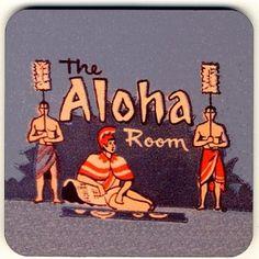 """Retro Tiki Coaster - """"The Aloha Room"""" Vintage Tiki Bar Coaster"""