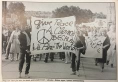 """""""Give peace a chance because we are the world."""" via the Swedish FOR's publication Fred&framtid, 1990, found in the FOR Archives in the Swarthmore Peace Collection."""