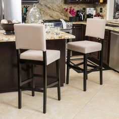 Canal Tan Fabric Barstool (Set Of 2)