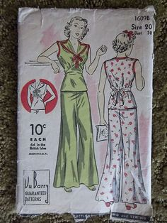 Vintage Ladies Lounging Pajama Pattern 1930'S