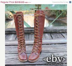 Vintage 70s ZODIAC Brown Leather Lace Up Hippie Boho by shopEBV