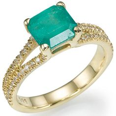 2.00 carats Natural Emerald Diamond Engagement Ring 14k Yellow or White Gold. $1,346.00, via Etsy.