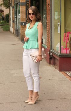 Sweet Mint peplum top and short light brown hair. <3