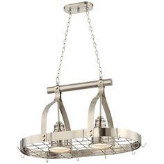 $399. 2 Light Brushed Nickel Finish Hanging Pot Rack Chandelier