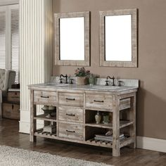 This rustic style bathroom vanity set comes with natural stone top with backsplash and white ceramic sink. This set also includes two matching wall mirrors. The vanity features with two tip-ou Rustic Bathroom Vanities, Single Sink Bathroom Vanity, Rustic Bathrooms, Vanity Sink, White Bathroom, Bathroom Furniture, Modern Bathroom, Small Bathroom, Bathroom Ideas
