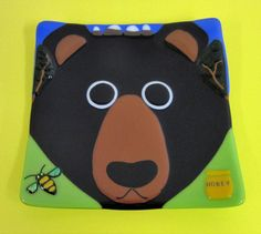 Bee-ware of Bear Fused Glass Dish by JanuaryMayDesigns on Etsy