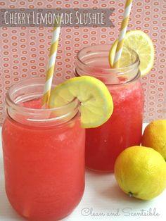 Cherry raspberry lemonade slushie - perfect for Valentine's Day!