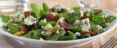 Warm Bacon, Date and Pistachio Spinach Salad with Blue Cheese   Wisconsin Milk Marketing Board