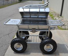 Check out this one of a kind grill from Keg Kustoms! It's made out of a 55 gallon stainless steel drum. Valued at $10,000