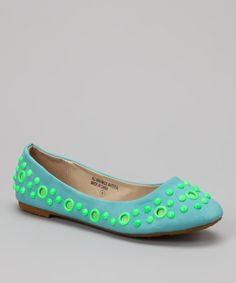 Take a look at this Shully's Blue & Green Dot Ballet Flat by Shully's on #zulily today!