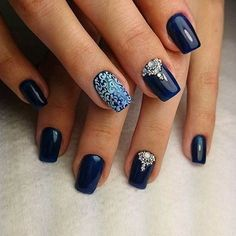 Elegant looking dark blue nail art design. You can see that there are tribe members in … - Diy Nail Designs Nail Art Design Gallery, Best Nail Art Designs, Nail Design, Gorgeous Nails, Pretty Nails, Nail Photos, Manicure Y Pedicure, Blue Nails, Bright Nails