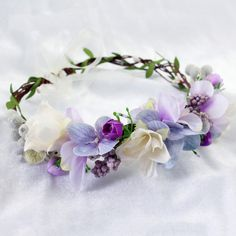 Only 13$- Flower Wreath Headband Floral Crown Garland Halo With Floral Wrist Band Set for Wedding Festivals and Maternity