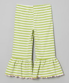 Another great find on #zulily! Green Stripe Ruffle Capri Pants - Toddler & Girls by SILLY MILLY #zulilyfinds
