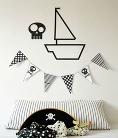 mommo design: WALL DECOR - tape Washi Tape Diy, Masking Tape, Tape Wall Art, Kids Bedroom, Kids Rooms, Pirate Theme, Kid Spaces, Happy Kids, Boy Room
