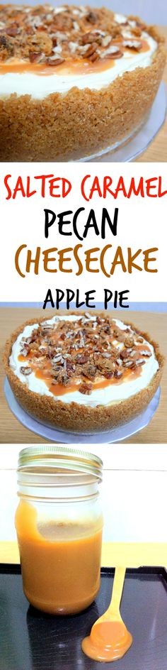 Salted Caramel Apple Pecan Cheesecake Pie- so delicious