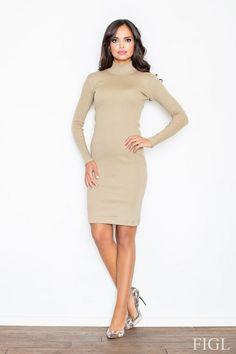 Sukienka damska do kolan w odcieniu beżowym z wywijanym golfem