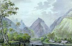 A painting by John Webber, member of an expedition of James Cook (1777).