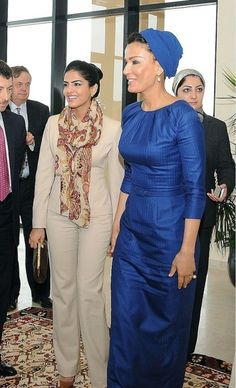 Sheikha Mozah is looking fabulous in blue Ralph & Russo couture with Princess Ameera Al-Taweel.