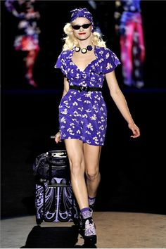 This whole set. I ordered the gorgeous electric purple Floral Silhouette on Crepe de Chine romper with matching turban, already owns the purple snakeskin Anna Sui for Hush Puppies wedge sandals and ordered the socks and luggage. I don't have the jewelry though and it's definitely out of my price range, and the bags might not have made it to production. Too bad, because having seen the bag IRL, I fell in love with its deep purple color and soft, oh so soft leather.
