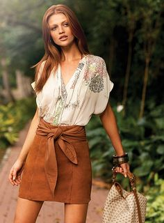 Fall is coming soon~~suede skirt... love the look.