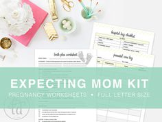 Expecting Mom Kit - Pregnancy Kit - Checklists, Birth Plan, and other printables for expecting mothers - INSTANT DOWNLOAD