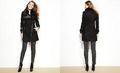 Via Spiga Faux-Fur Asymmetrical Faux-Leather-Trimmed Coat