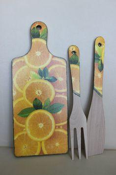 Orange Wooden Chopping Board and Utensils Decoupage by Jurosihandmade