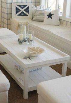 Incredible Creramy wood and clean lines Pinner said 'I love this. However, the Lord blessed me with two boys and right now this just would not work out!' The post Creramy w . Coastal Living Rooms, Decor, House Interior, Cottage Decor, Home, Interior, Coastal Style Living Room, Coffee Table, Home Decor