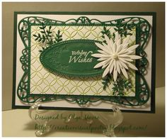 Aster Greens by alliekatte - Cards and Paper Crafts at Splitcoaststampers Butterfly Cards, Flower Cards, Paper Flowers, Birthday Design, Die Cut Cards, Heartfelt Creations, Greeting Cards Handmade, Handmade Christmas, Scrapbook Cards
