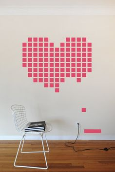 Cool painting idea... but is anyone else seeing the eye trick with white blocks circling around the heart as you follow them with your eyes?