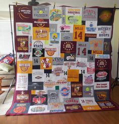 A SUPER king size T-shirt quilt! What a great way to remember your high school days! High School Days, Hanging Quilts, Shirt Quilt, King Size, Sewing Projects