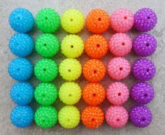22mm Resin Neon Rhinestone Beads set of 10 - Basketball Wives - Focal Bead 6 Colors