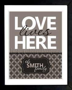 LOVE Lives Here FAMILY Print - You Choose the Colours - Can Match Any Home's Decor - Choose from 5 Different Styles - Chevron  etc
