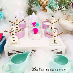 Olaf party favors at a Frozen birthday party! See more party planning ideas at CatchMyParty.com!