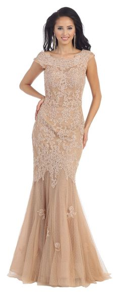45ce361d8fa Long Cap Sleeve Lace Mermaid Plus Size Formal Prom Dress - The Dress Outlet  - 1
