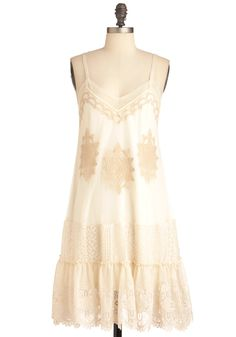 So sweet. Secrets of Your Sol Dress by Ryu - Mid-length, Cream, Tan / Cream, Embroidery, Wedding, Party, Sheath / Shift, Spaghetti Straps, Ruffles, Slip