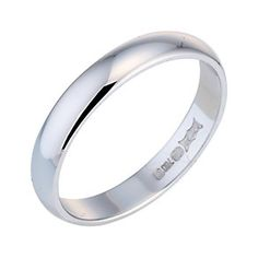 18ct white gold D shape extra heavy weight 3mm ring - Product number 6263755