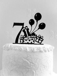 Birthday Cake Topper, Seventh Birthday cake topper, Happy Birthday - Birthday Cake Blue Ideen 7th Birthday Cakes, Happy 7th Birthday, Birthday Cake Toppers, Cupcake Toppers, Birthday Wishes, Happy Birthday Calligraphy, Cake Templates, Acrylic Cake Topper, Fondant Animals