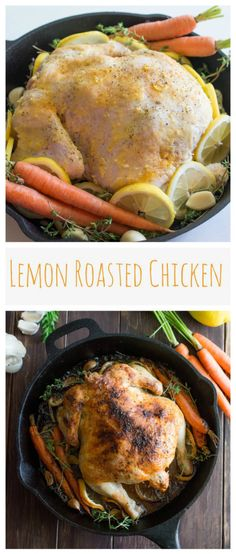 Classic roasted chicken, kicked up a notch with maximum lemon flavor. The roasted garlic cloves are amazing. Using a cast iron skillet for this dish makes it super easy to clean up, too! Only one pan!