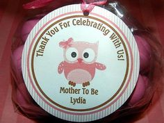 Pink Owl Baby Shower ,Owl Baby Shower Favor Tag-  Owl Baby Shower Decoration