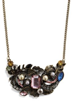 Heirloom-inous Necklace - Bronze, Yellow, Blue, Pink, Grey, White, Floral, Rhinestones, Formal, Party, Vintage Inspired
